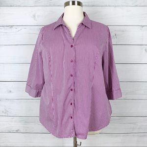 Lane Bryant Purple Striped Button Down Pajama Top
